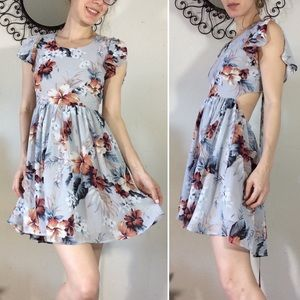 Lulu's Grey floral Hibiscus Mini Cut Out Dress